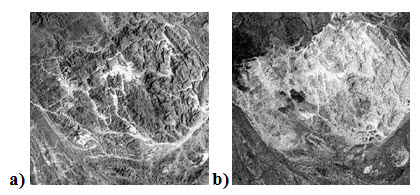 Fig. 11.13. a) Blue band shows topography due to illumination difference, b) ratio of band3/band2 removes illumination and yield different rock types