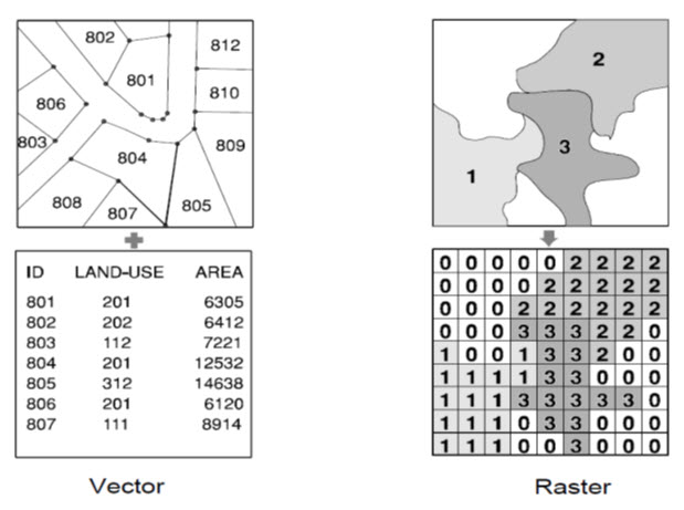 Fig. 26.2. Comparison between Vector and Raster data representation