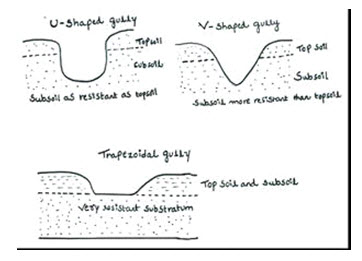 gully classes based on the shape of gully cross-section