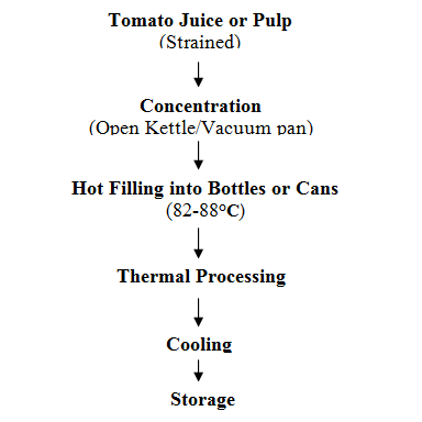 Dt 11 lesson 22 tomato puree paste sauce and ketchup 221 process flow diagram for tomato puree or paste manufacture ccuart Images